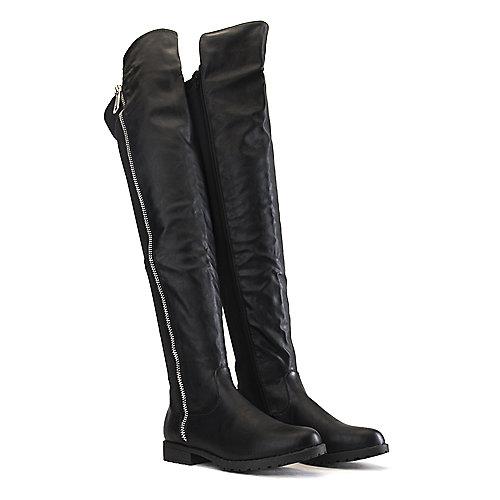 Bamboo Monterey-05 Low-Heel Boots Black