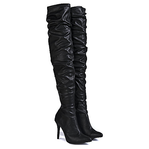 Anne Michelle Monet-23V Knee-High Boots Black