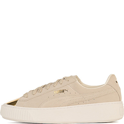 Puma Suede Platform Gold Casual Sneakers White
