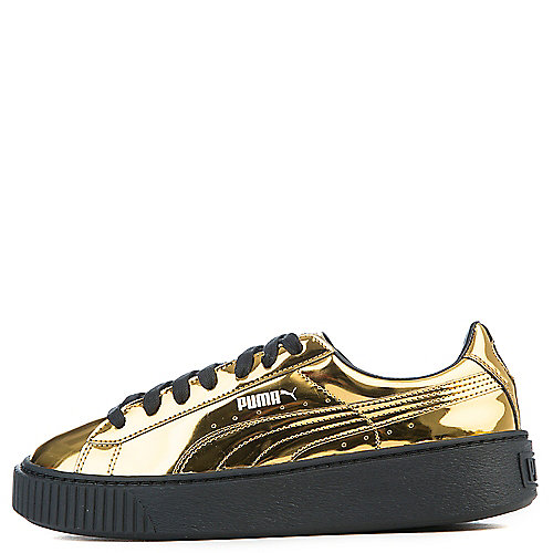 Puma Basket Platform Metallic Casual Sneakers Gold