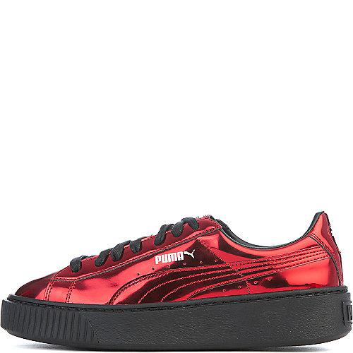 Puma Basket Platform Metallic Casual Sneakers Red