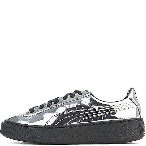 Puma Basket Platform Metallic Casual Sneakers Silver Sneaker
