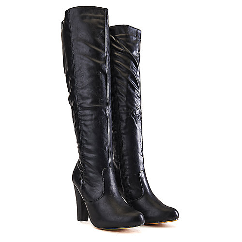 Shiekh Women's Knee-High Leather High Heel Boot Apollo-4 Black Knee-High Boots