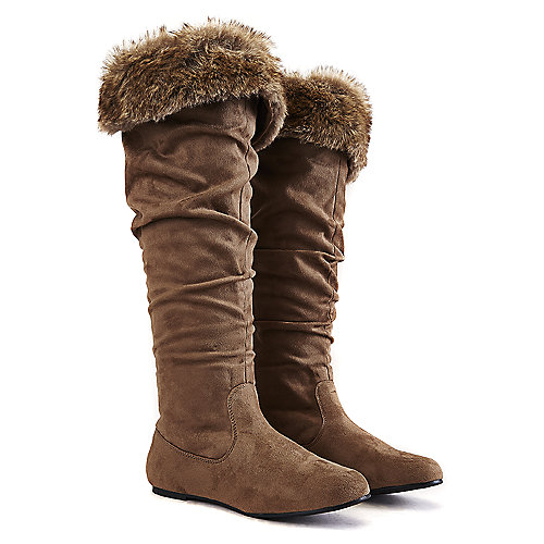 Wild Diva Women's Kalisa-110 Knee-High Boot Taupe Fur Boots