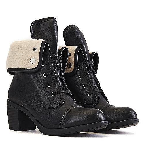 Wild Diva Women's Essence-34A Fold-Down Combat Boot Black Combat Boots