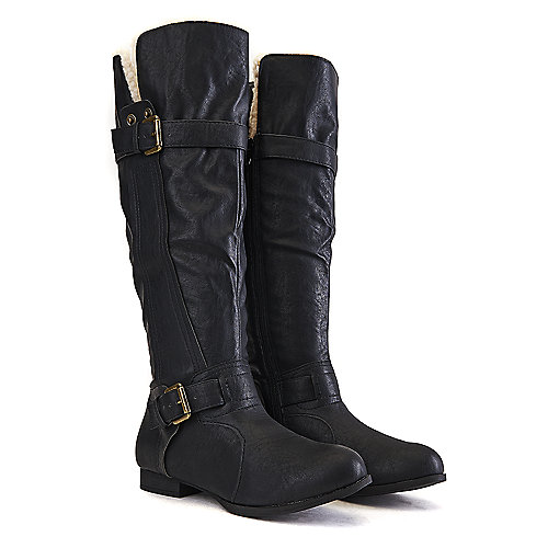 Wild Diva Women's Tosca-236 Knee-High Boot Black Knee-High Boots