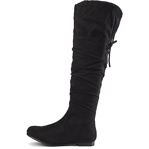 Wild Diva Women's Starcy-67 Flat Knee-High Boot Black Flat Boots