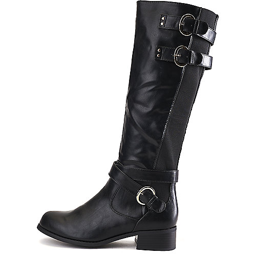 Wild Diva Madrid-32 Low-Heel Riding Boots Black Western/Riding Boots