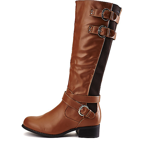 Wild Diva Madrid-32 Low-Heel Riding Boots Tan Western/Riding Boots
