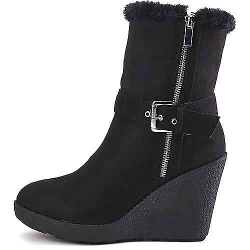 Wild Diva Women's Selina-35 Wedge Ankle Boot Black Wedge Boots