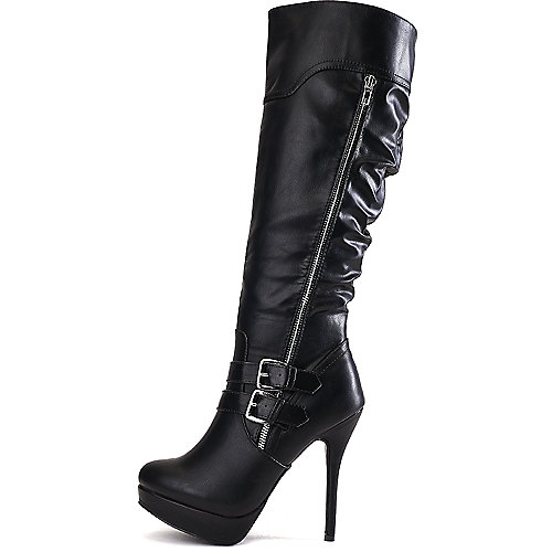 Wild Diva Women's Sonny-209 Knee-High Boot Black Platform Boots