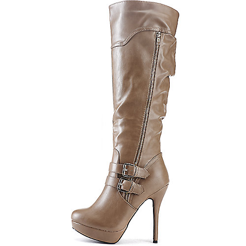 Wild Diva Sonny-209 Knee-High Boots Taupe Platform Boots