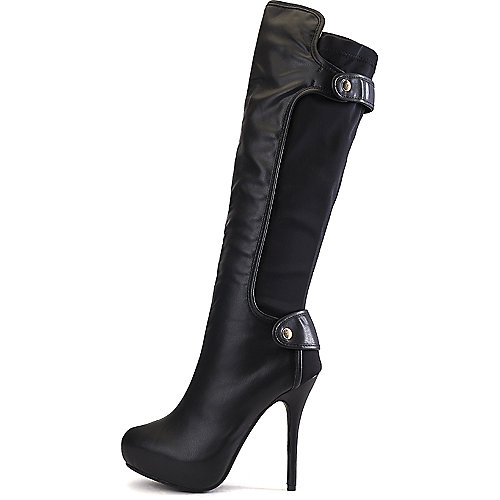 Wild Diva Women's Sonny-88 High Heel Platform Boot  Black Knee-High Boots