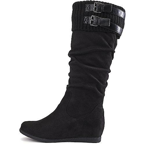Wild Diva Delta-04 Flat Mid-Calf Boots Black