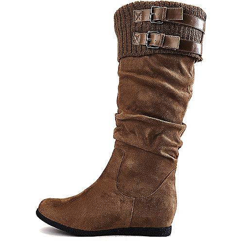 Wild Diva Women's Delta-04 Flat Mid-Calf Boot Taupe Flat Boots