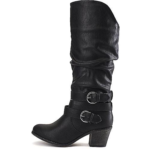 Wild Diva Women's Miles-28 Low-Heel Boot Black Western/Riding Boots