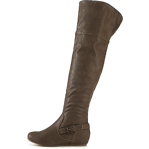 Wild Diva Women's Candies-159 Thigh-High Boot Taupe Thigh-High Boots