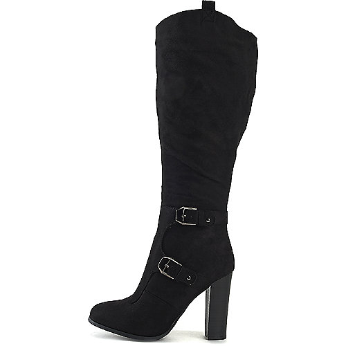 Wild Diva Women's Emilia-01 Knee-High Boot Black Knee-High Boots