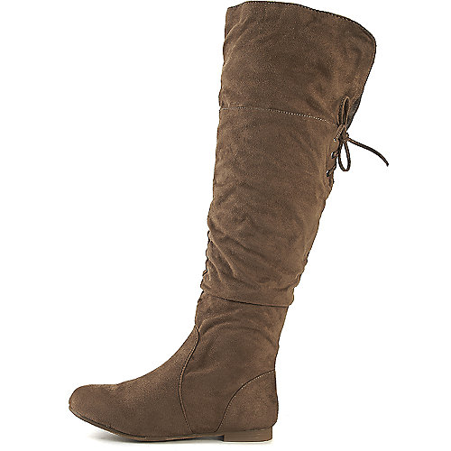 Wild Diva Starcy-67 Flat Knee-High Boots Taupe