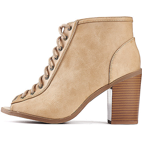 Soda Audrina-S Lace-Up Ankle Boots Tan