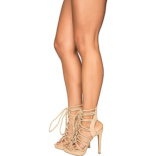 Shiekh Madden-09 Lace-Up High Heel Natural