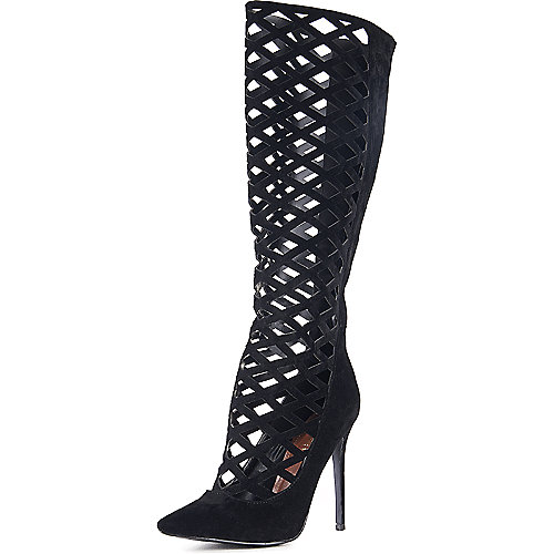 Shoe Republic LA Hailey Gladiator Heel Black Exotic Shoes