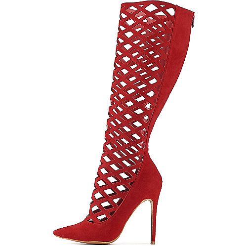 Shoe Republic LA Hailey Gladiator Heel Red Exotic Shoes