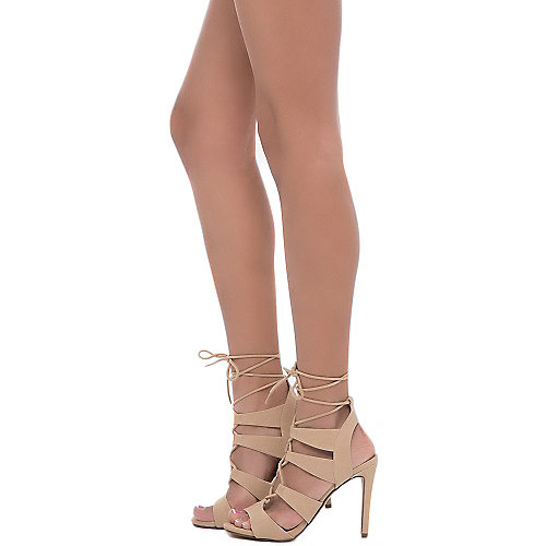 Delicious Slingback High Heel Heather-S Beige Slingback Sandals