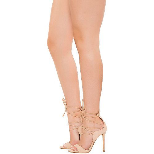 Cape Robbin Kate-1 Lace-Up High Heel Beige