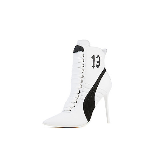 Puma Rihanna High Heel Leather Ankle Boots White