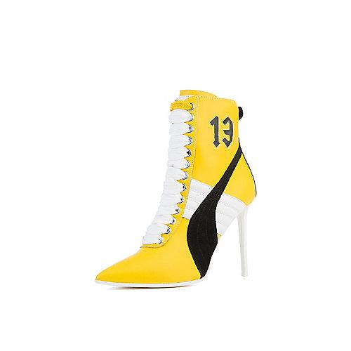 Puma Rihanna High Heel Leather Ankle Boots Yellow