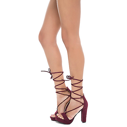 Shiekh Helen-1 Lace-Up High Heel Burgundy
