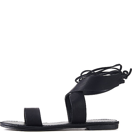 City Classified Zinty Lace-Up Sandals Black