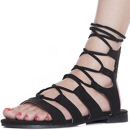 Cape Robbin Emily-25 Lace-Up Sandals Black