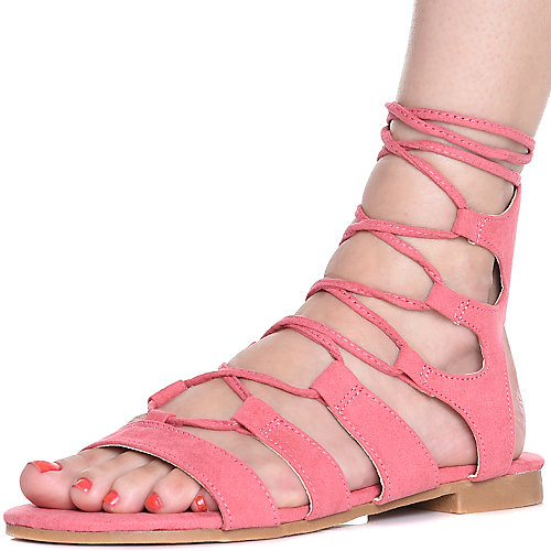 Cape Robbin Emily-25 Lace-Up Sandals Pink