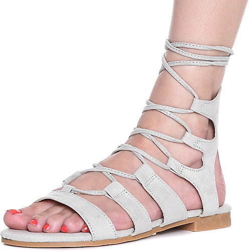 Cape Robbin Emily-25 Lace-Up Sandals Grey