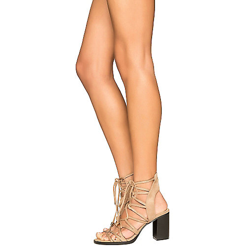 Cape Robbin Carrie-3 Lace-Up Sandals Tan