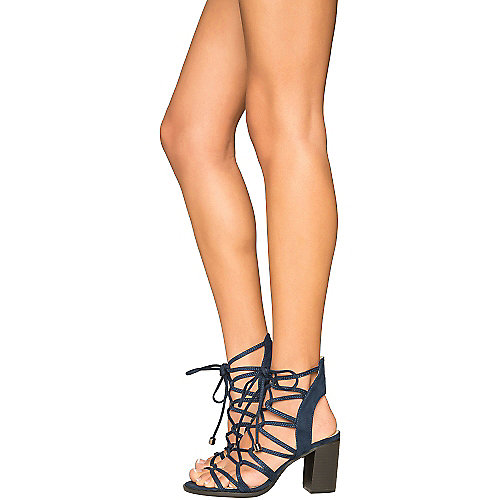 Cape Robbin Carrie-3 Lace-Up Sandals Navy