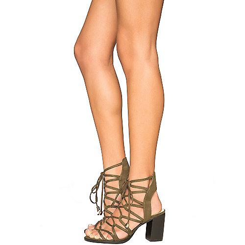 Cape Robbin Carrie-3 Lace-Up Sandals Green