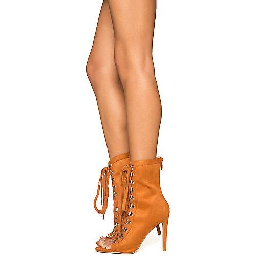 Cape Robbin Women's Eva-1 Lace-Up Boot Tan High Heel Boots