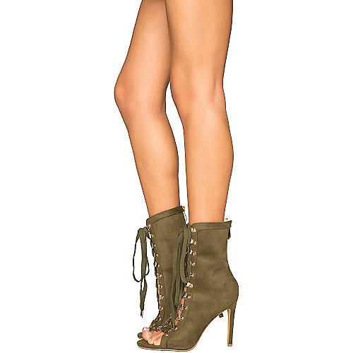 Cape Robbin Women's Eva-1 Lace-Up Boot Green High Heel Boots