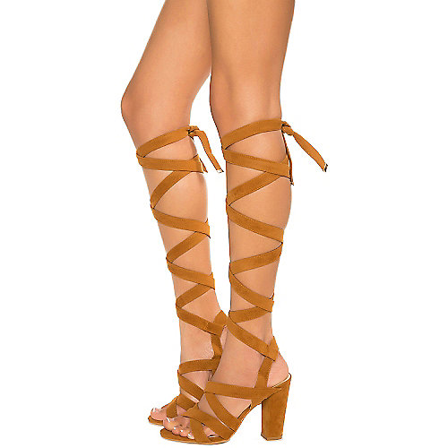 Cape Robbin May-1 Lace-Up Sandals Tan