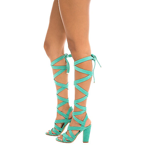 Cape Robbin May-1 Lace-Up Sandals Turquoise