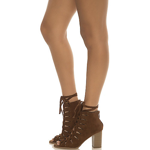 Shiekh Hewitt-S Lace-Up Booties Brown Low Heel Shoes