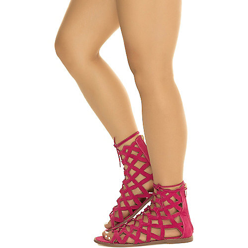 Cape Robbin Petrone-2 Lace-Up Sandals Fuschia Gladiator Sandals