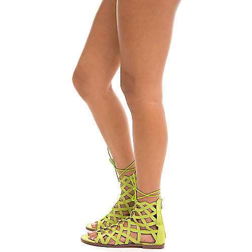 Cape Robbin Petrone-2 Lace-Up Sandals Green Gladiator Sandals