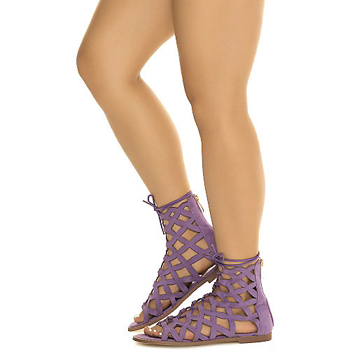 Cape Robbin Petrone-2 Lace-Up Sandals Purple Gladiator Sandals