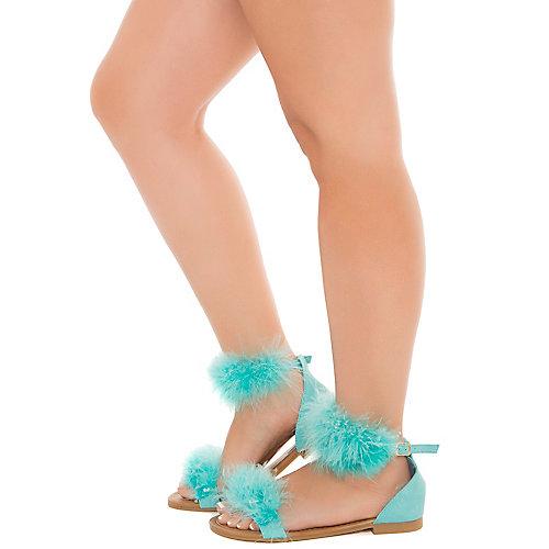 Cape Robbin Emily-32 Flat Fur Sandals Blue Flat Sandals