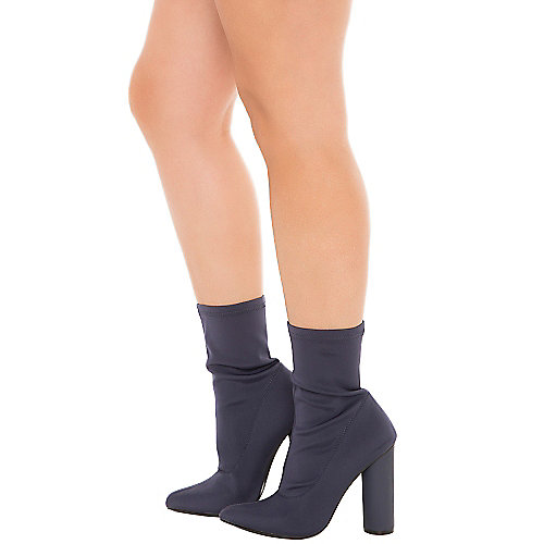 Cape Robbin Paw-1 High Heel Ankle Boots Navy