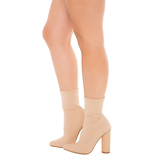 Cape Robbin Paw-1 High Heel Ankle Boots Natural